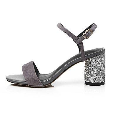 LvYuan Sandalen-Büro Kleid Lässig-Kaschmir-Blockabsatz-Club-Schuhe-Schwarz Grau Black