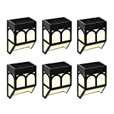 Solar Garden Lights 6 Pack Powered Fence Lights Waterproof Outdoor Wall/Step Lights/Lawn/Patio/Yard/Party/Christmas Decoration Warm/White Color Changing
