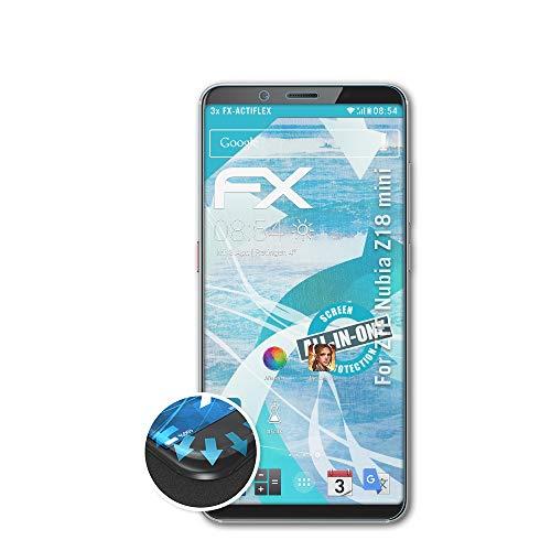 atFolix Schutzfolie passend für ZTE Nubia Z18 Mini Folie, ultraklare & Flexible FX Bildschirmschutzfolie (3X)