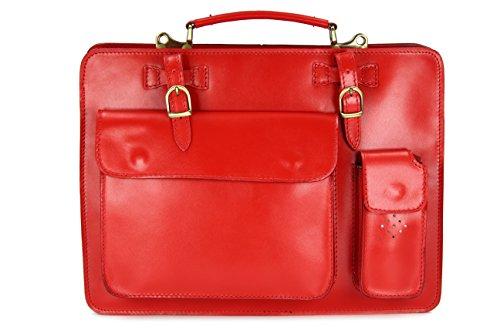 6cd6f65df2403 BELLI Design Bag Verona ital Leder Businesstasche Arbeitstasche Messenger  Aktentasche Lehrertasche Laptoptasche unisex Farbauswahl 39x29x11 cm B x H  x T Rot