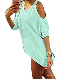 Hibote Mujer Camisas Bat Camisa Mujeres Top Sling Off Shoulder Tops Casuales de Ajuste Holgado Camiseta