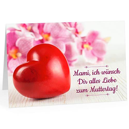 Große XXL (DIN A4) Karte zum Muttertag mit Umschlag/Großes rotes Herz/Edle Design Klappkarte/für Mama oder Mami/Moderne Maxi-Karte/zum Geburtstag