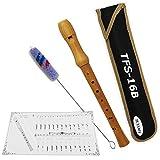 Tuyama® TFS-16B C-Soprano Flauto Dulce Soprano - Digitación Barroco - Madera de Arce - con Tablatura y 2 Partituras - Soprano Recorder Flute