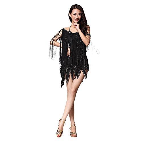 Lateinamerikanischer Tanz passt Damen Strass Armband mit Fransen zweiteilig,Schwarz,freie Größe