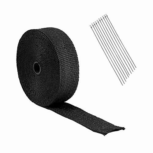 SODIAL 10M Gewickeltes Auspuff Rohr, Schwarzes Glas Faser Isolier Band + 10 Kabel Bündel, 30 cm -