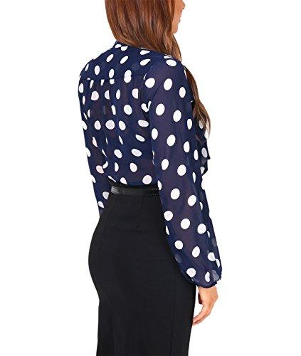 KRISP® Damen Elegante Chiffon Bluse Marineblau mit Punkten (5401)
