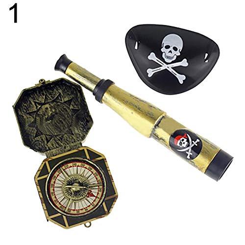 Honey MoMo Piraten-Spielzeug,3 / 60Pcs Karibik Piraten Teleskop Kompass Cosplay Ankleiden Spielzeug Kinder Geschenk - 3pcs