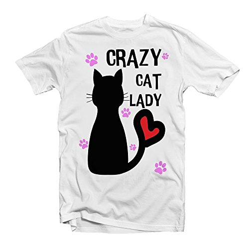 Womens Crazy Cat Lady T Shirt White