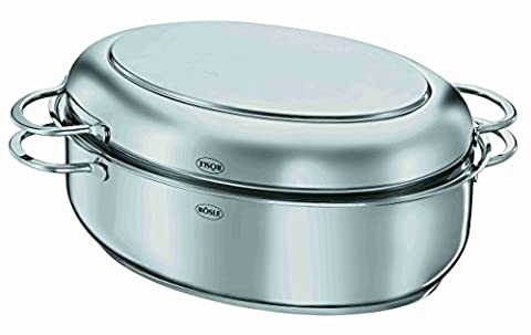 Rosle Oval Roasting Pan Including Multi-Functional Lid, Stainless Steel, 6.4 x 10-Inch