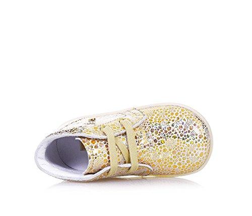 FALCOTTO - Chaussure à lacets dorée en cuir changeant, idéale pour les premiers pas et pour ramper, lacets beiges, Fille, Filles Or