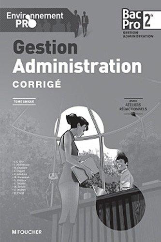 Environnement pro Gestion-admnistration Sde Bac Pro Corrigé