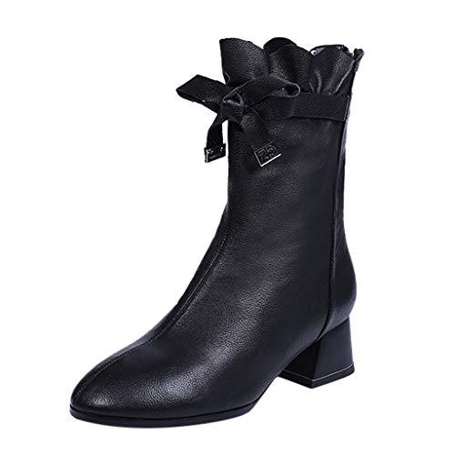 feiXIANG Damen Boots Chunky Heels Stiefel Vintage Frauen Reine Farbe Wanderstiefel mit Blockabsatz Waterproof Booties Herbst Winter (Schwarz,35)