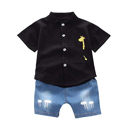 Gyratedream Summer Baby Boys Girls Customes Short Sleeve Cartoon Deer Print T-Shirt Tops+Shorts Casual Outfits Clothes Sets,1-4 Years