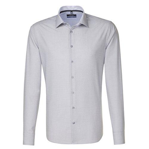 SEIDENSTICKER Herren Hemd Tailored 1/1-Arm Bügelfrei Uni / Uniähnlich City-Hemd Kent-Kragen Kombimanschette weitenverstellbar grau (0033)