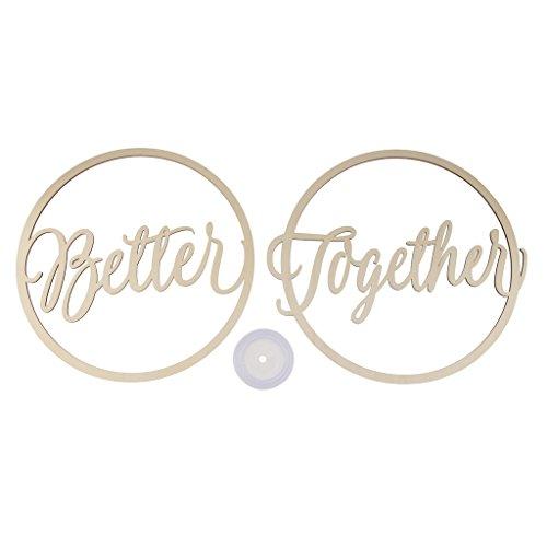 P Prettyia 2 Stück Stuhl Bunting Stuhldekoration Hochzeit Holz Stuhl Schild Braut Bräutigam Foto Requisiten Dekoration - Better Together -