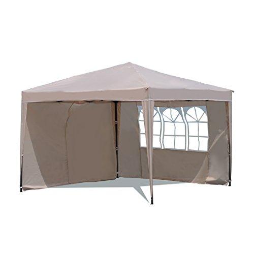 Sekey Garten Pavillon 3 x 3 m Faltpavillon einsetzbar als Gartenpavillon, Party- und Festzelt, Camping- und Festival-Zelt, Gartenmöbel,Gartenlauben,Wasserdicht, mit Zwei,Seitenwänden,Taupe