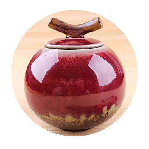 Orb-Natsume Tea Caddy Made of Porcelain for storing Matcha Green Tea etc... Artistic Glaze red/white