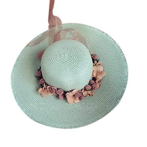Floridivy Wide Brim Straw Sonnenhut Frauen-Mädchen-Blumenkranz Frühlings-Sommer-Cap-Strand-Hut Kopfschmuck Kopfbedeckung - Spielen Sonnenhut