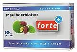 Maulbeerblätter Extrakt, 600mg mit Zimt Extrakt, Chrom, Vitamin B12, 60 Tabl,- zum Abnehmen, für niedrigen Zuckerspiegel, gegen Heißhunger, Monatspackung, cholesterinsenker, bei Diabetes