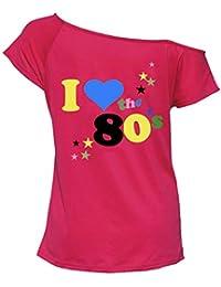 7cd0bacd3 Womens I Love 80s Fancy Dress Top Ladies Retro Parties Pop Star Tee T Shirt  Top