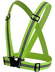 Owfeel (TM) hohe Sichtbarkeit, reflektierend, größenverstellbar, Weste, reflektierende Gear Sporttasche für Kinder, fluoreszierendes Grün