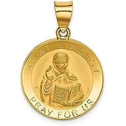 Hermoso oro amarillo 14 K 14 K pulido y satinado San Vicente hueco medalla colgante viene con un regalo de joyería gratis