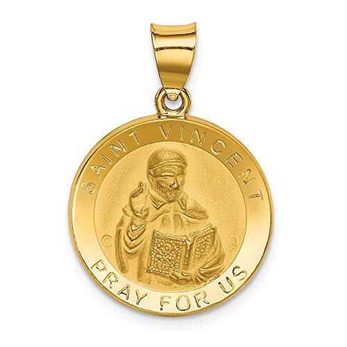 Medaillen-Anhänger, 14 Karat Gelbgold, polierter und satinierter St. Vincent, inklusive gratis Schmuckgeschenk