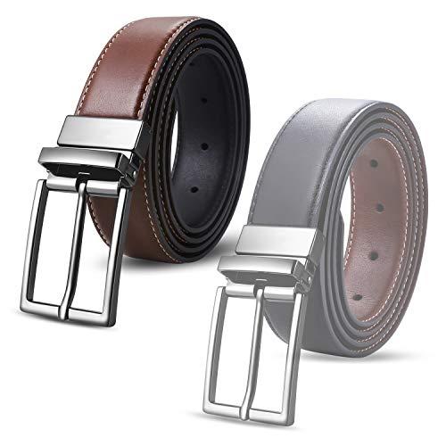 ghj Gürtel Herren Gürtel Leder Gürtel für Herren aus echtem Leder Zwei Verwendungsmöglichkeiten von einer Schnalle Schwarz und Braun (Size 105)