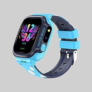 BOERSAND Kinder Smart-Uhr-Handy, Geeignet für Jungen und Kinder Smart-Uhren Von 3 bis 12 Jahre alt, mit SOS-Kamera Taschenlampe Touch für Kinder Geschenk,Blue-OneSize