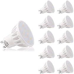 LOHAS No-Regulable 6Watt GU10 LED Bombillas, Equivalente a 50Watt Lámpara Incandescente, Blanca Neutra 4000K, 500lm, 120 ° ángulo de haz, Ultra Brillante LED Bombillas, Paquete de 10 Unidades