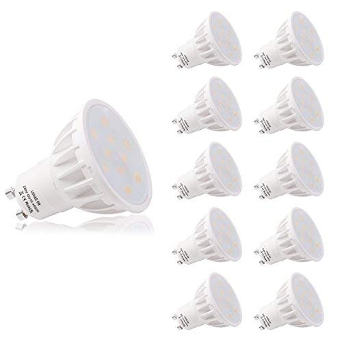 LOHAS No-Regulable 6Watt GU10 LED Bombillas, Equivalente a 50Watt Lámpara Incandescente, Blanca...