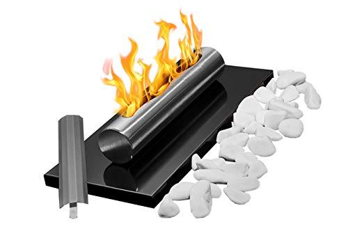Bio-Ethanol-Kamin Eco Tischplatte SCHWARZ Bio-Kamin Heizung Brenner Feuer Tisch Tragbare + Dekorative Steine + 1 Liter BIO-Kraftstoff (Grundset + dekorative Steine + Bio-Brennstoff)