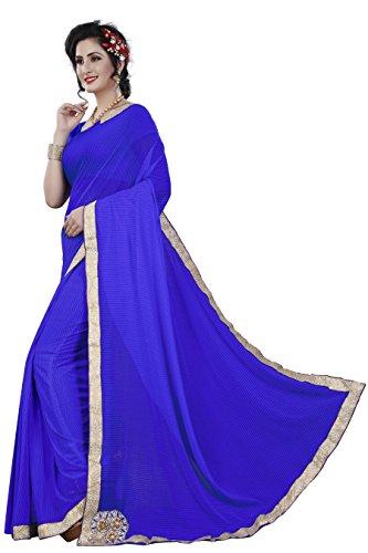 KAMELA SAREE Women's Polyester Saree With Blouse Piece (Lycra_Blue _Blue)