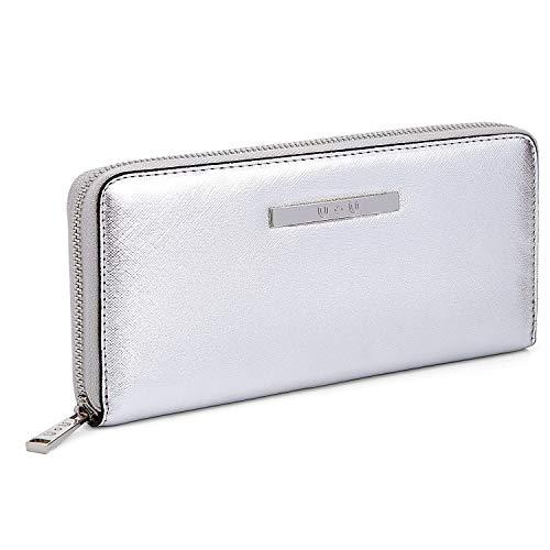 Damen Brieftasche groß langes weiches Leder Handtasche Kartentasche Einfarbig Geldbörse (Silber)