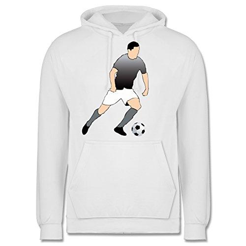 Fußball - Fußballspieler Stürmer Ball Sprint - Männer Premium Kapuzenpullover / Hoodie Weiß
