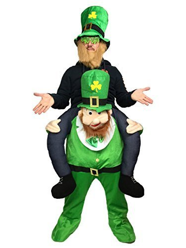 Piggyback Leprechaun Carry Me Maskottchen Kostüm irische Fancy Hirsch Party - Carry Me Kostüm Leprechaun