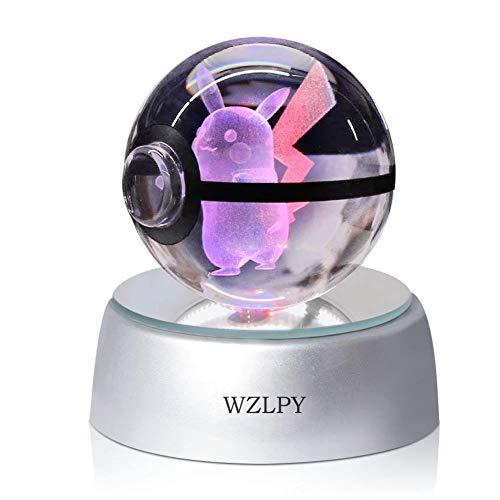 WZLPY 3D Crystal Ball LED Nachtlicht Kinder Geschenk Lampe 50mm Ball Automatische Verfärbungsbasis (Gold-karten Pokemon)