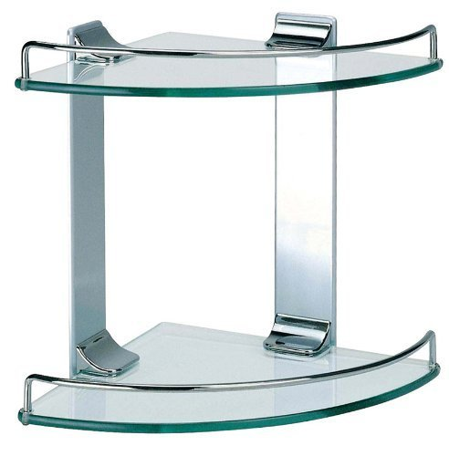 Dowell Double Corner Glass Shelf, Chrome Finish (2005 001 02) by Dowell