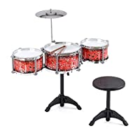 Toyrific Toy Drum Kit, Drum Set for Kids with Symbol, Sticks and Seat