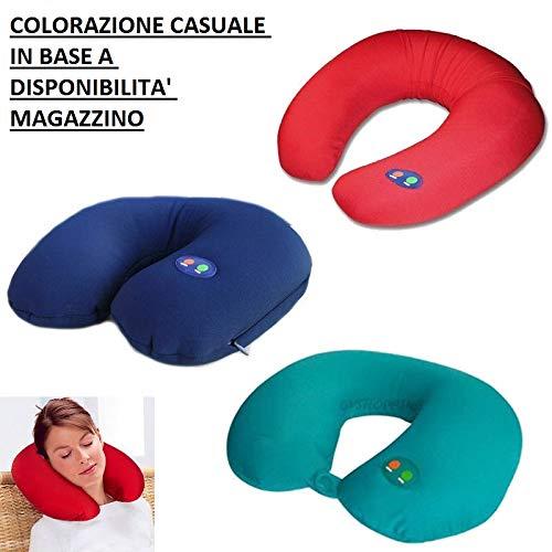 Pricekiller® - cuscino da viaggio con funzione massaggiante vibrante cervicale morbido per viaggi alimentato a batterie - colorazione in base a disponibilità magazzino