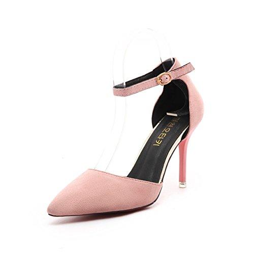 Die neue feine mit spitzen Veloursleder-Absatzschuhe hohlen Wortbügelschuhe Pink