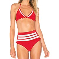 Amusement 1 * Traje de baño sexy de cintura alta para mujer con bola de malla con borla bola de malla adecuado para deportes al aire libre natación, Rojo-XL