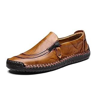 Inconnu LIEBE721 Chaussures en Cuir pour Hommes Fermeture à glissière latérale antidérapante Mode Bateau Sneaker Durable Chaussures de soirée Respirante