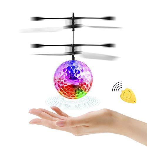 Diswoe RC Fliegender Ball, Fliegendes Spielzeug Infrarot-Induktions-Hubschrauber Drohne, RC Spielzeug Ball mit bunt leuchtendem LED-Licht und Fernbedienung, Geschenke für Jungen und Mädchen