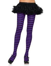 Leg avenue collant-paysage-plus size/rayures pour femme noir/violet taille unique :  environ 42 à 44