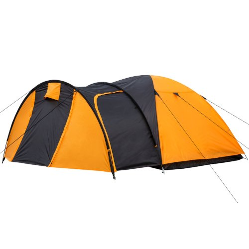 Kuppelzelt Iglu-Zelt mit Vorbau für 3-4 Personen, schwarz - orange