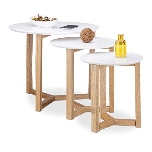 Relaxdays Beistelltisch 3er Set, geöltes Eichen-Holz, weiße Tischplatte 50, 35 und 30 cm, nordisches Design, weiß / natur (Runde Beistelltisch Eiche)