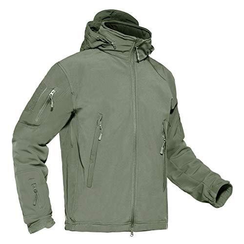 CRYSULLY Herren Outdoor Jagd Militär Soft Shell Fleece Kapuzenjacke Taktische Jacke, Herren, Armee-grün, XX-Large -