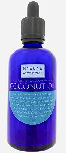 Fraktioniertes Kokosnussöl - 100 ml von Fine Line Apotheker. 100% PHARMACY GRADE, Premium, rein, natürlich, Kokosöl. Ein luxuriöses Öl für Haut und Haar von höchster Qualität. (Haar-entferner Feuchtigkeitsspendende)