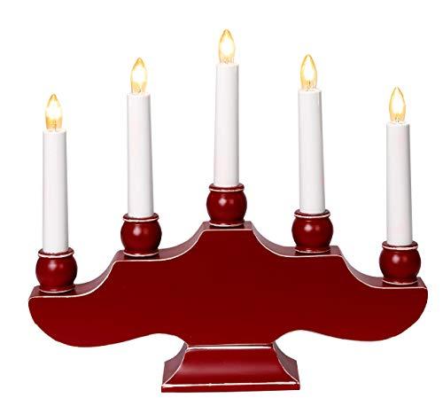 Best Season 255-35 Hanna - Candelabro navideño (7 velas, madera, 27 x 30 cm aprox), color rojo